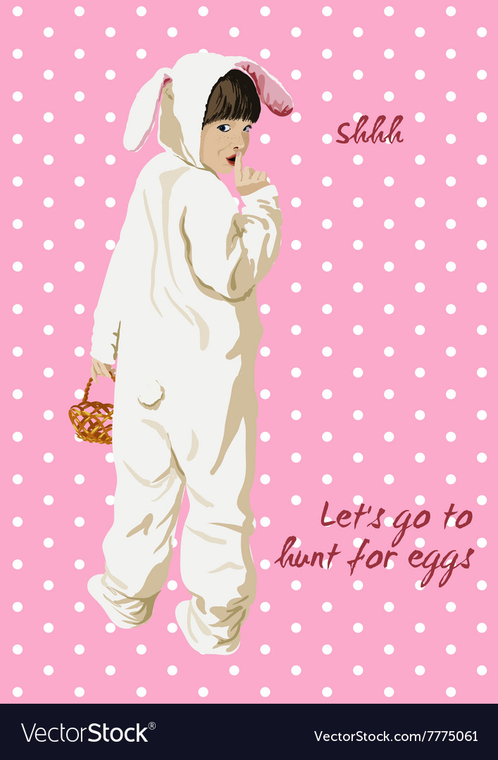 Easter card Girl in bunny costume with basket