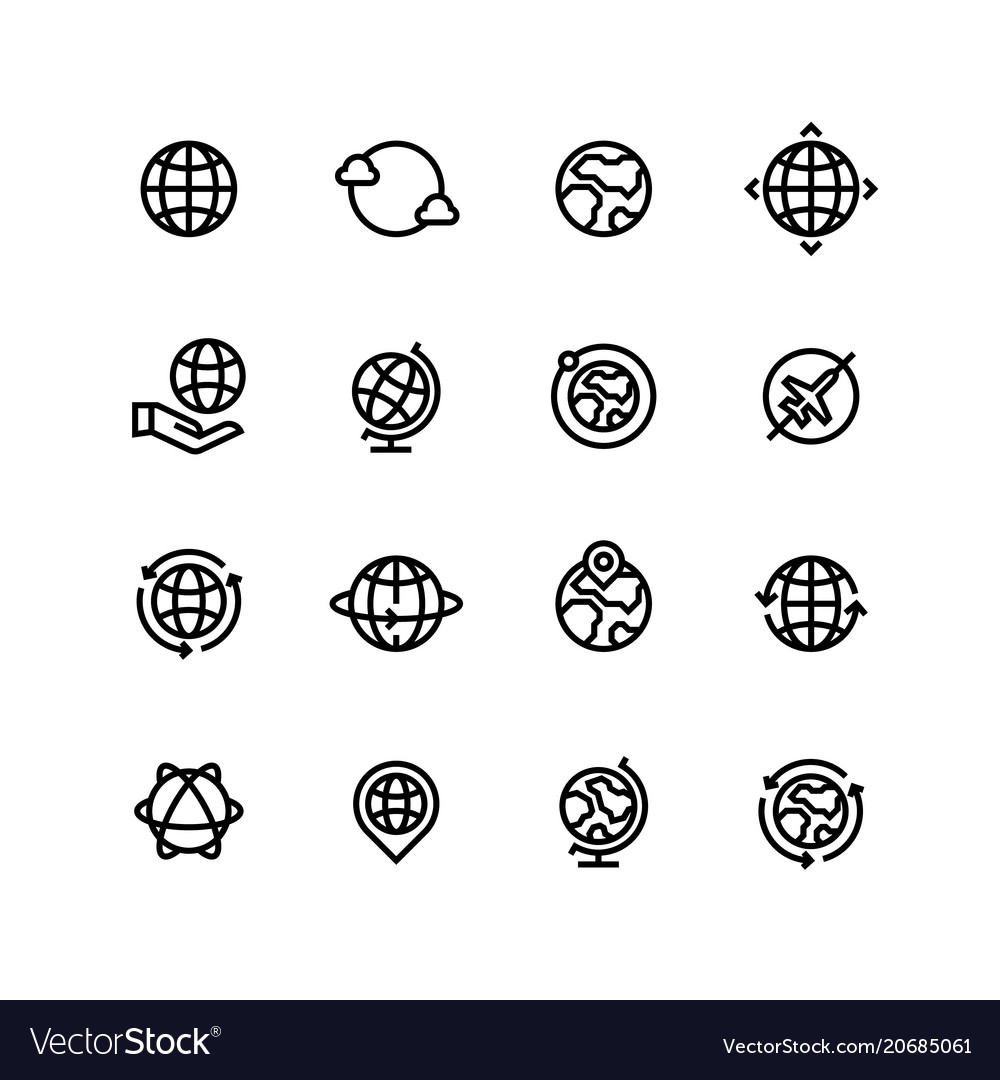 Global world globe outline icons earth map and