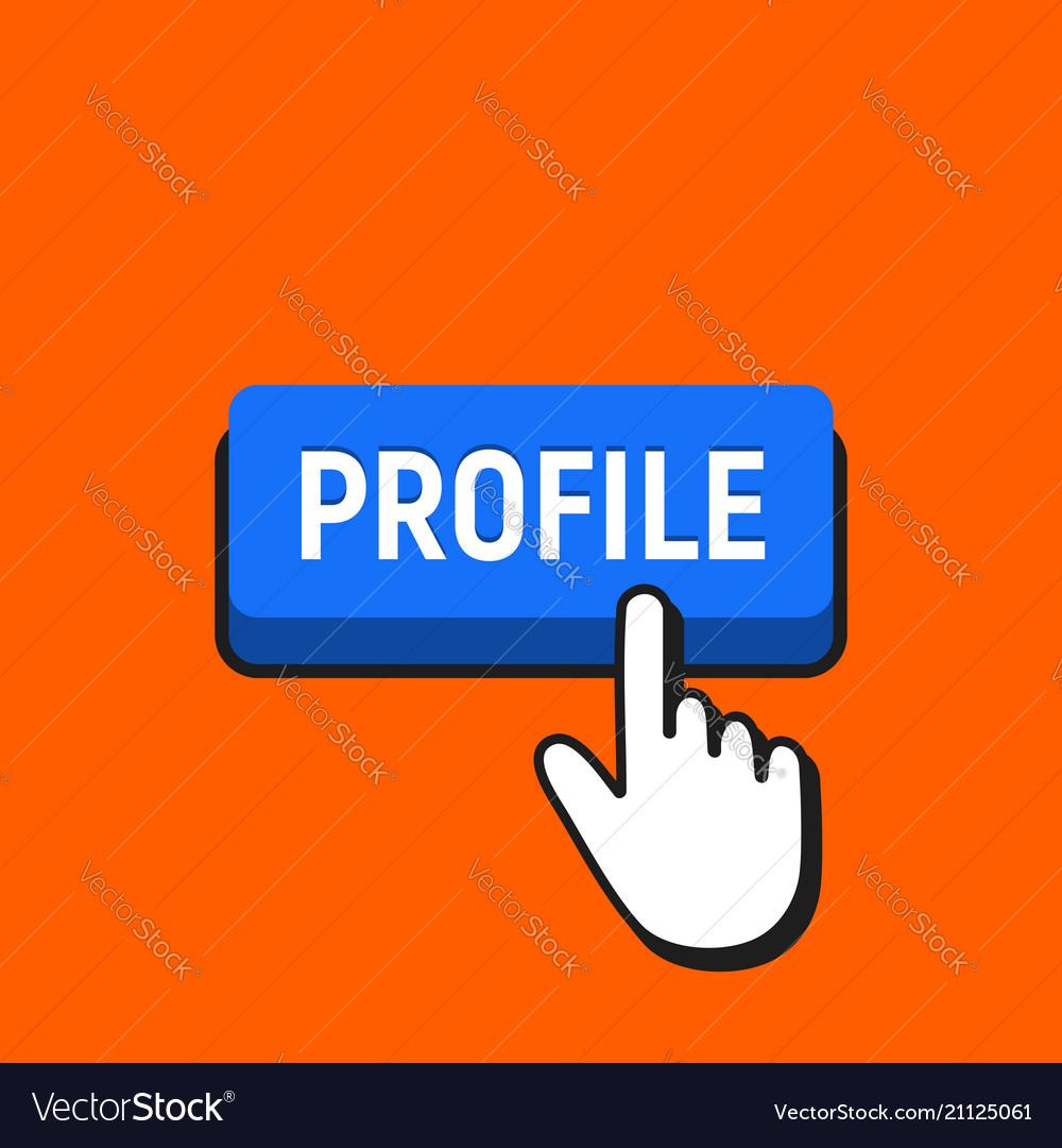 Hand mouse cursor clicks the profile button