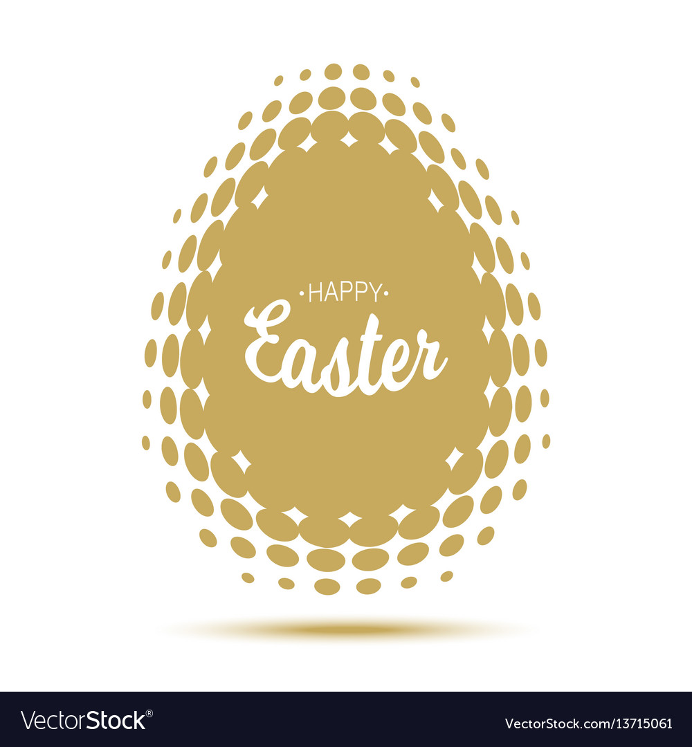 Happy easter lettering with gold halftone egg