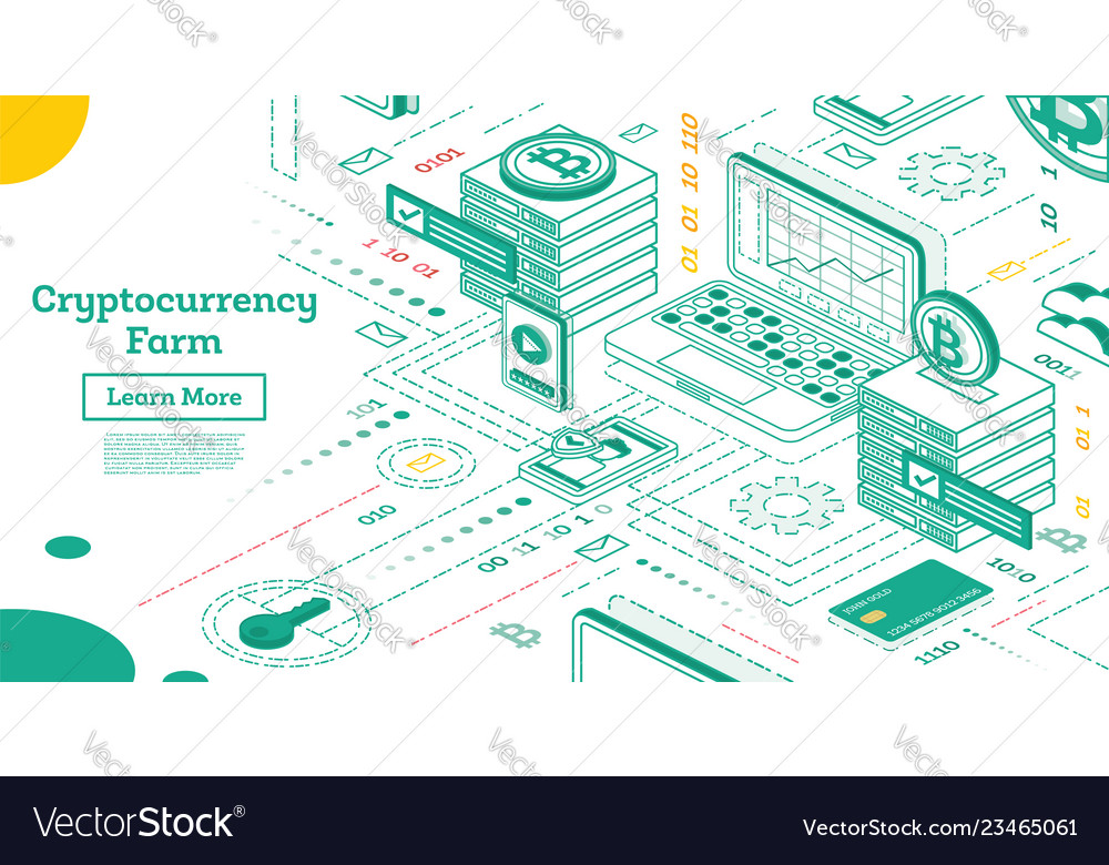 Outline isometric cryptocurrency farm mining