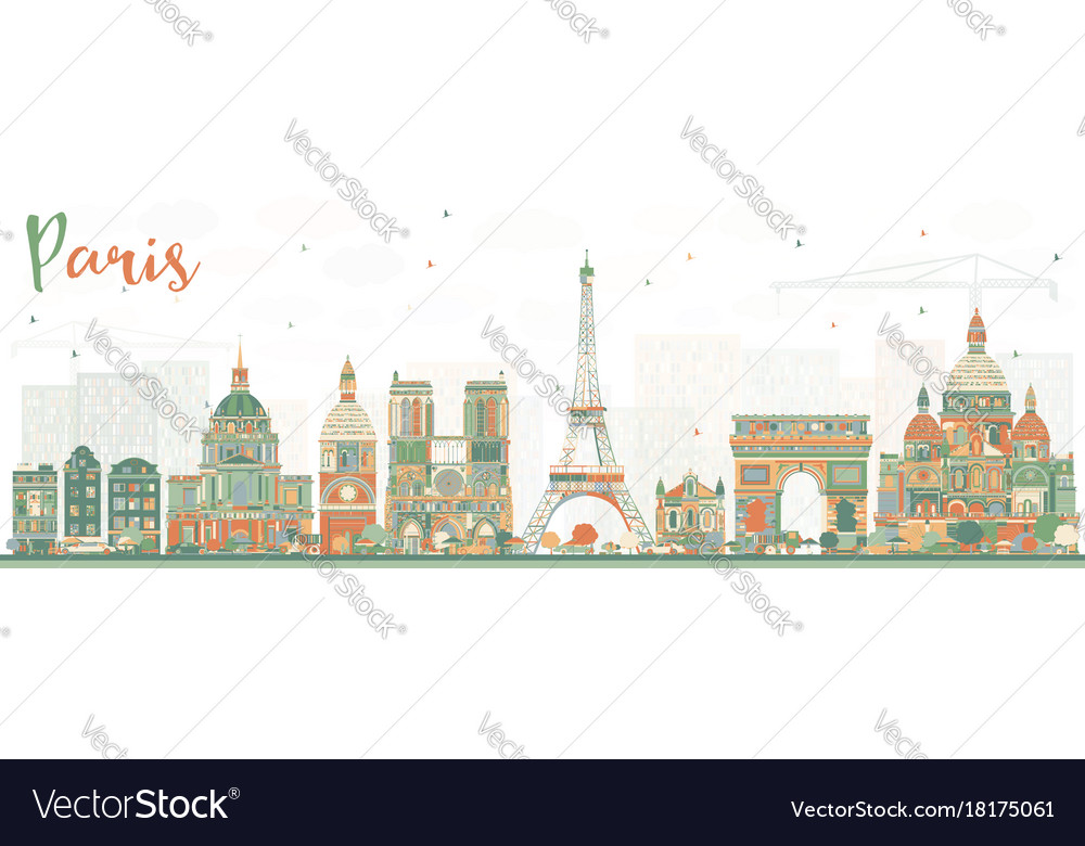 Paris skyline with color landmarks