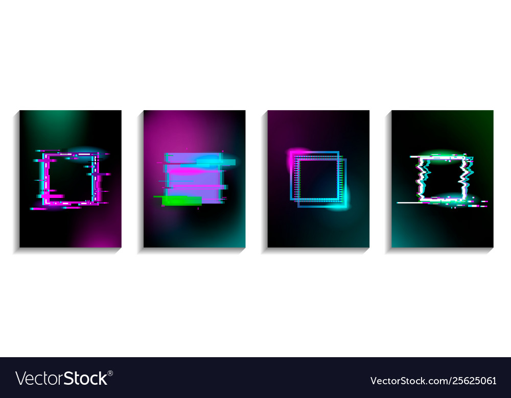 Set glitch squares with neon effect design for