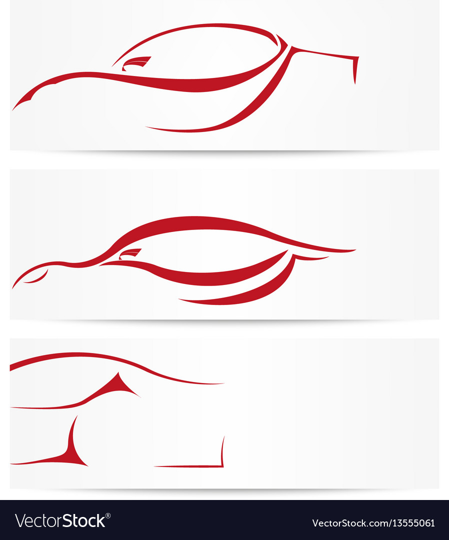 Set of sport car banners vector image