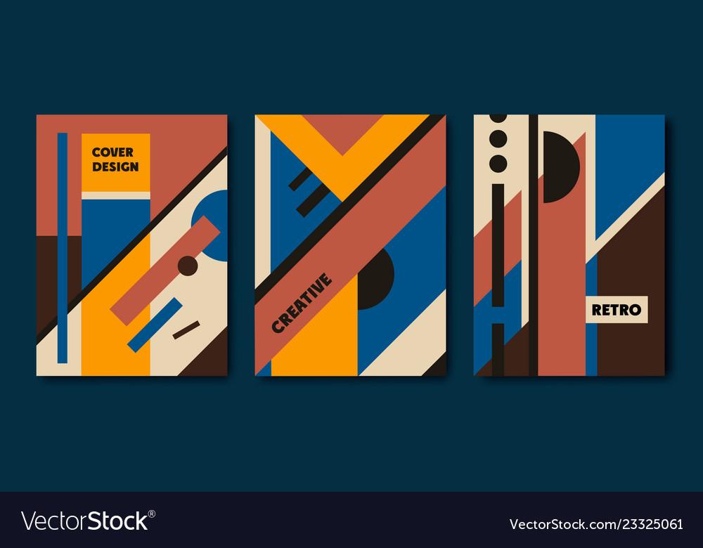 Set retro bauhaus geometric covers use