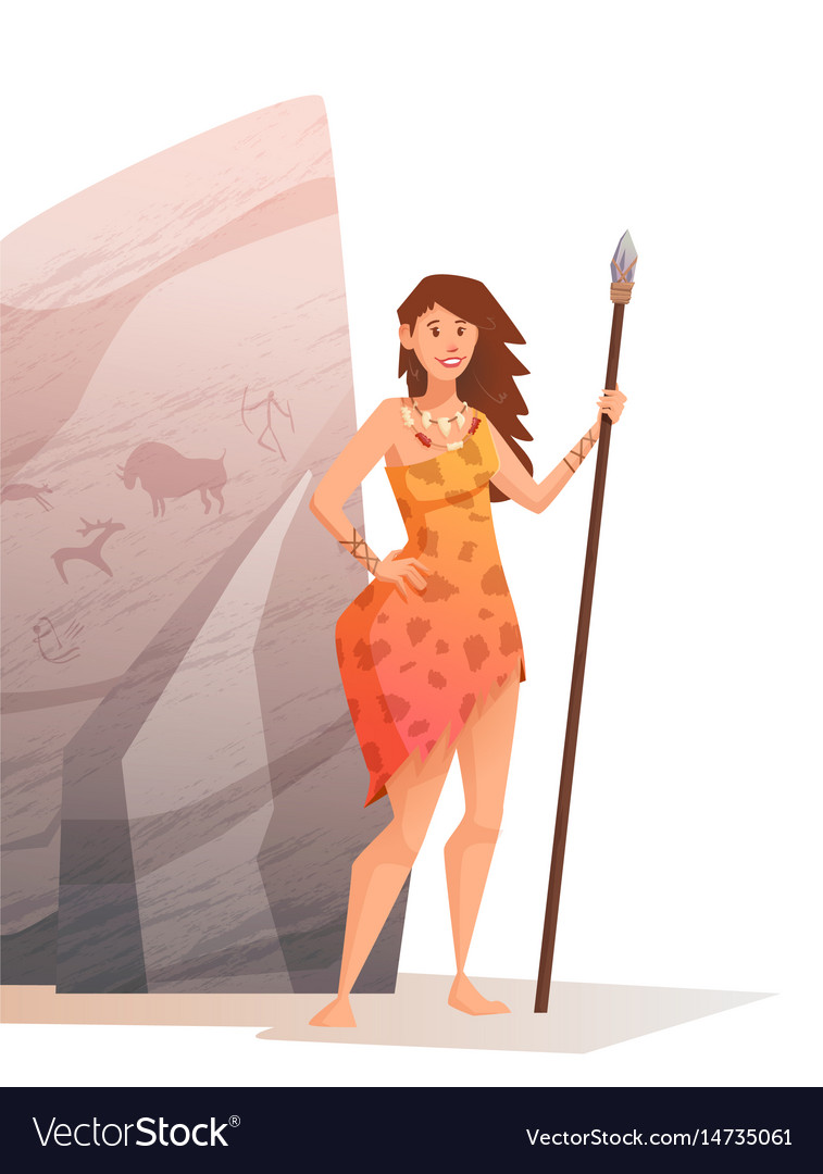 Smiling young woman holding a spear