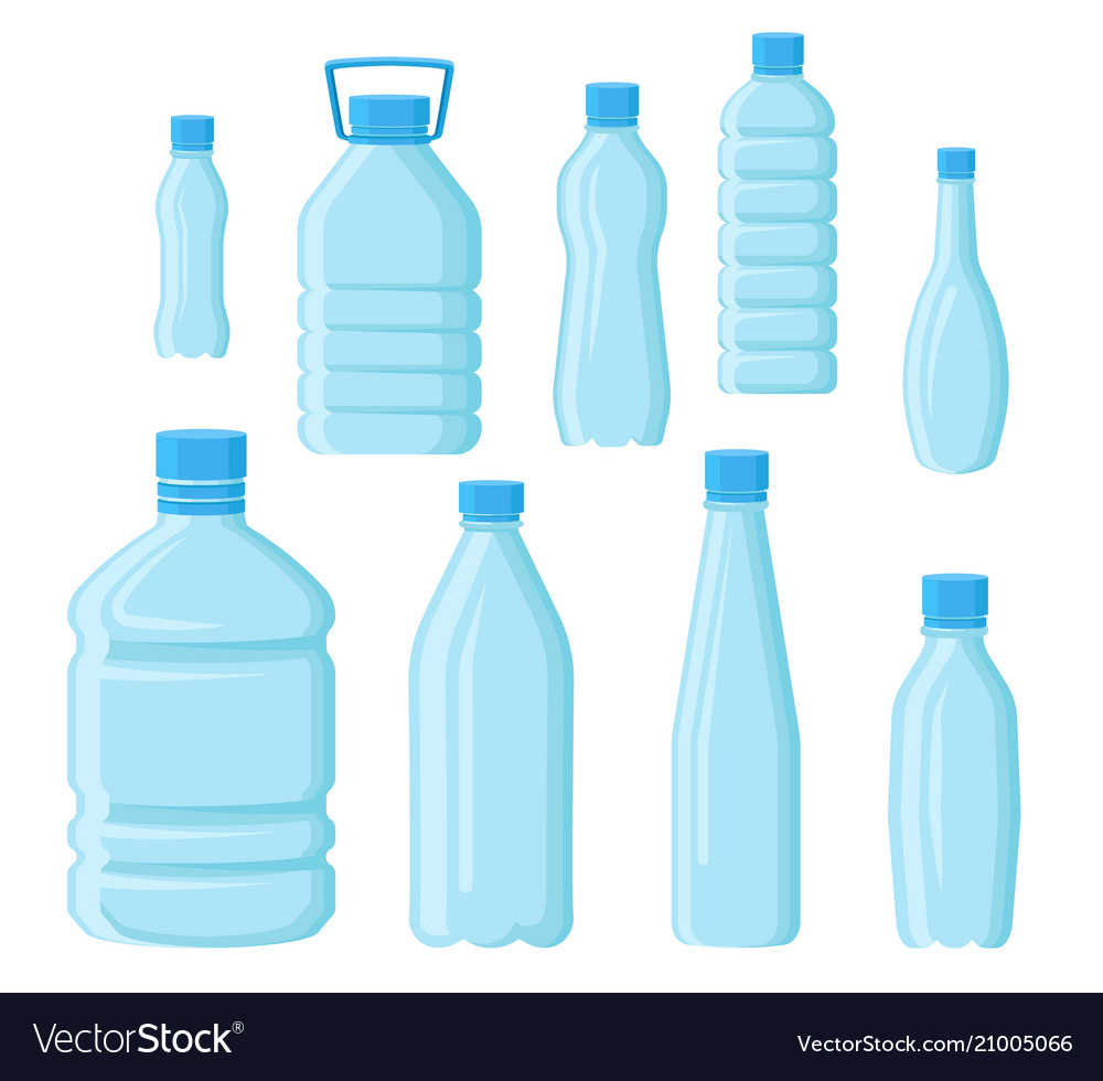 Flat set of empty plastic bottles in vector image