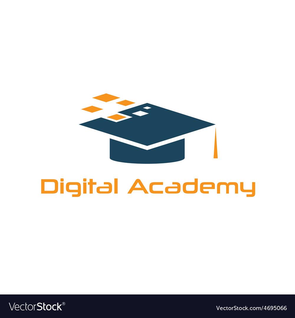 graduation cap of digital academy design template vector image