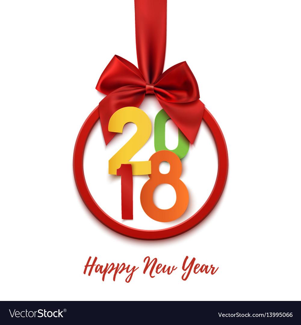 Happy new year 2018 round banner