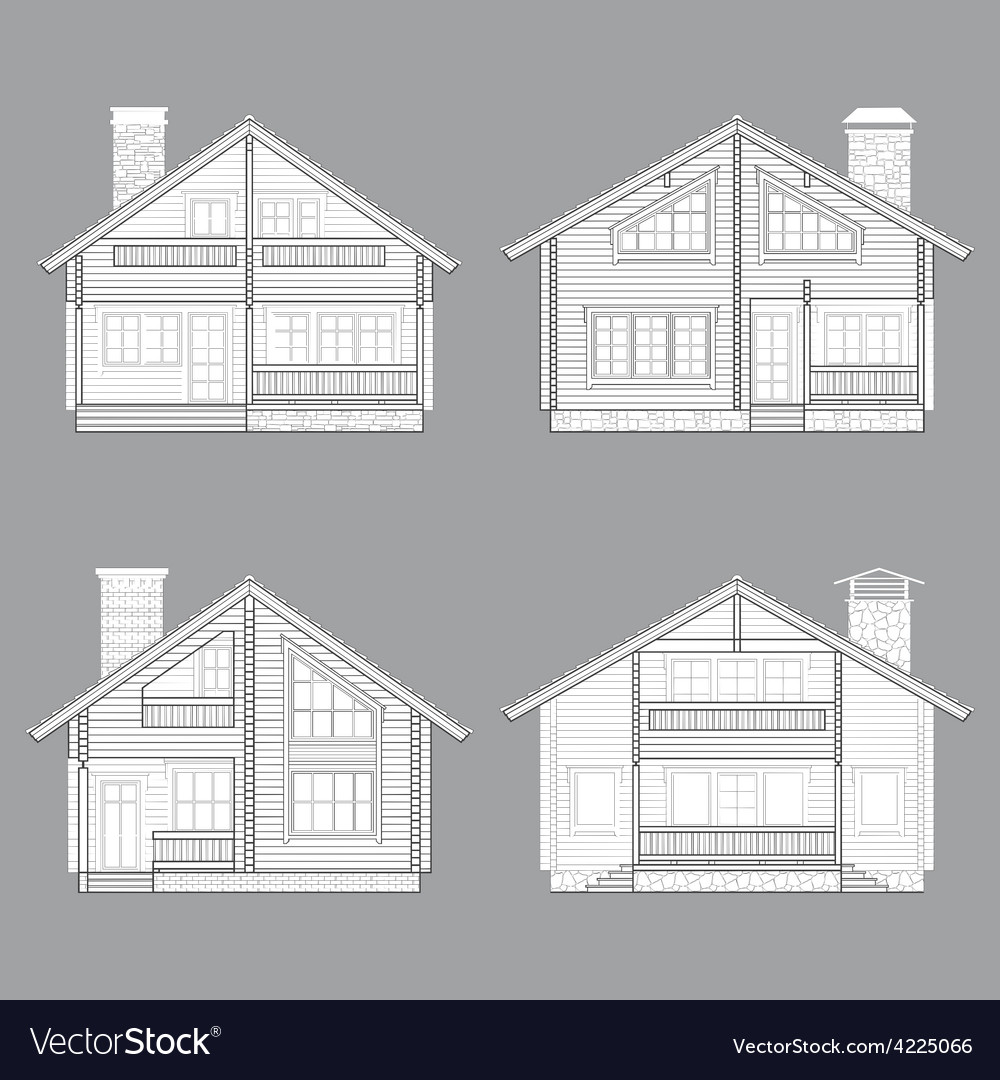 Log house line vector image