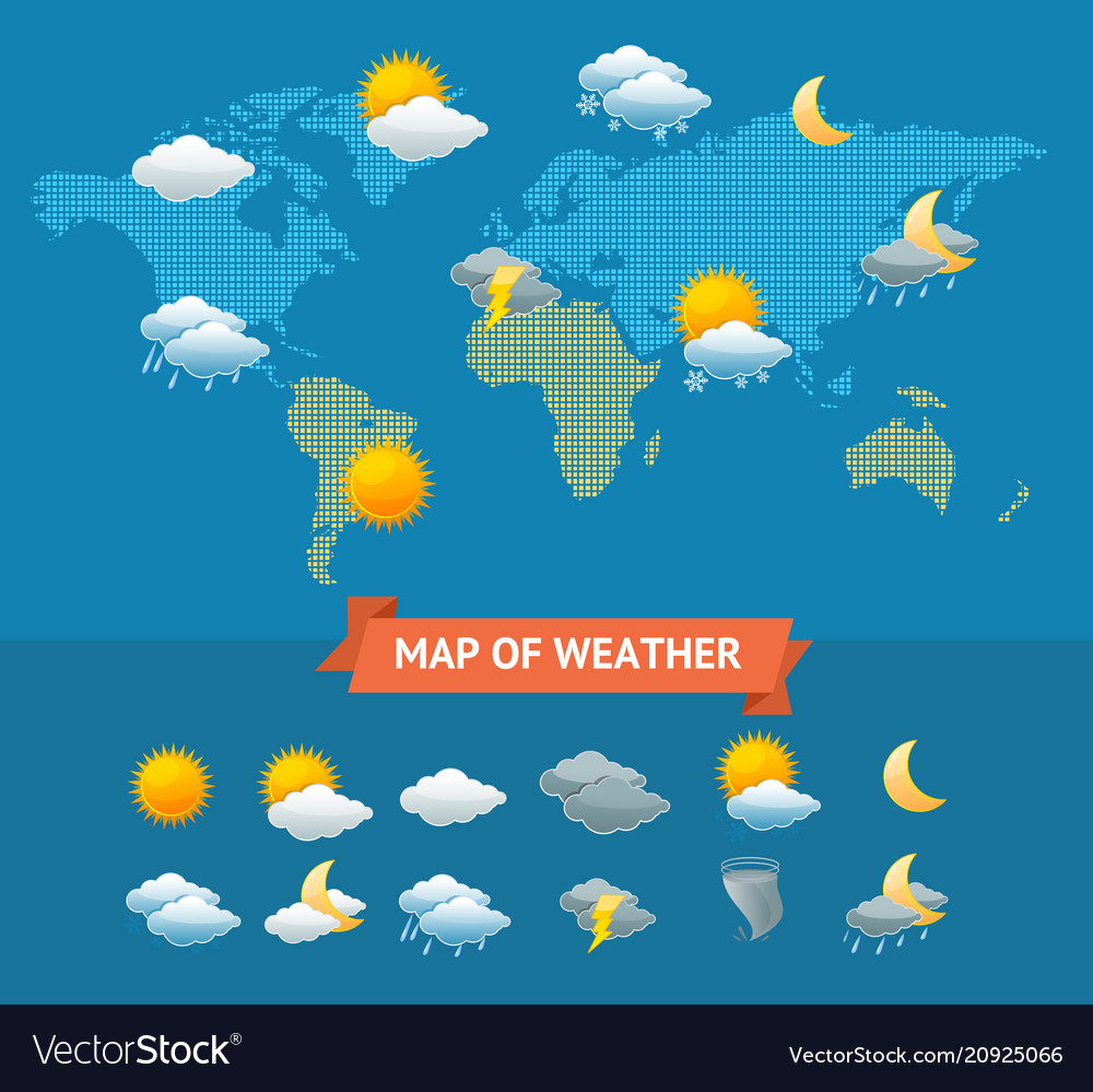 Map of weather with icons set