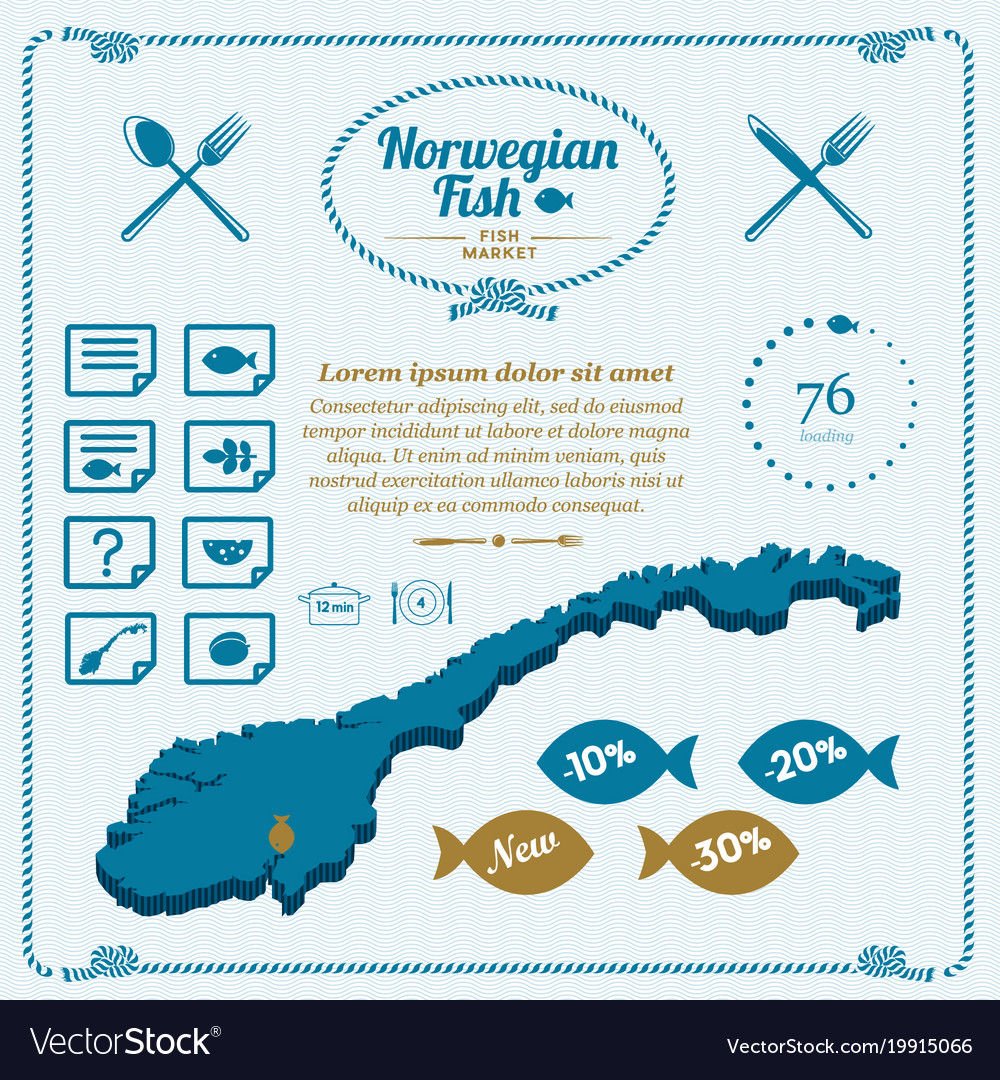Norway cooking fish map icon set