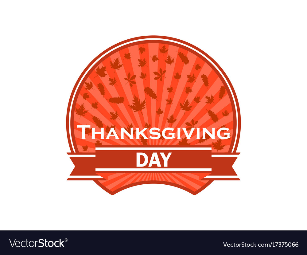 Thanksgiving day label on white background autumn