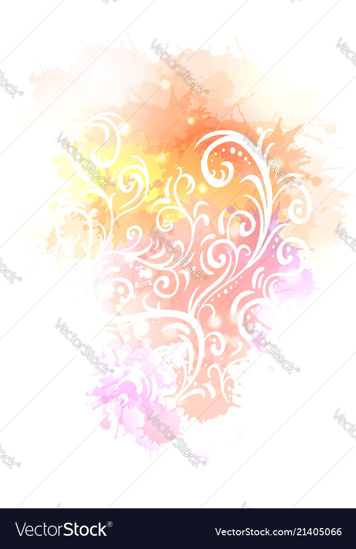 Vintage tracery on watercolor background with