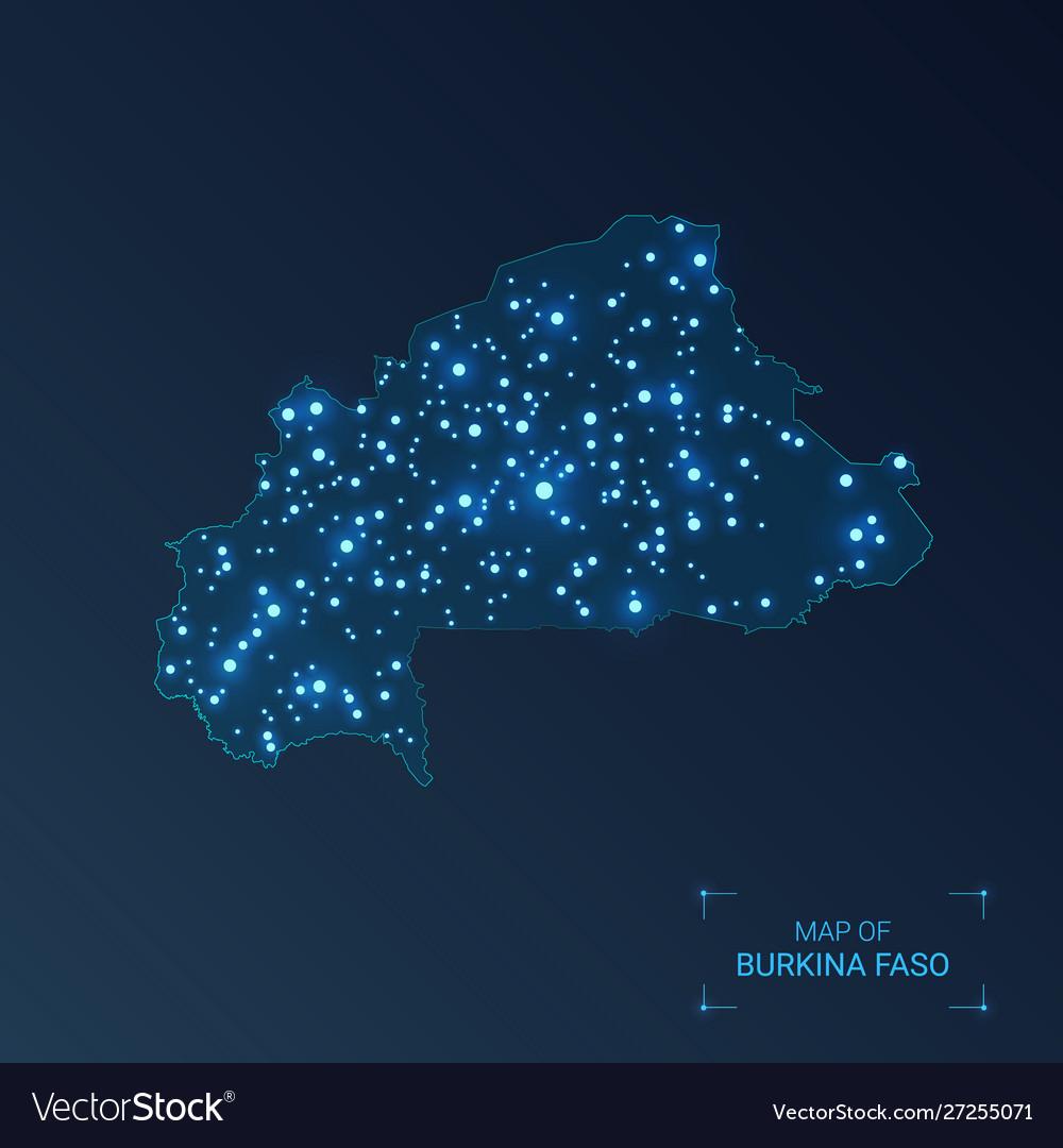 Burkina faso map with cities luminous dots - neon