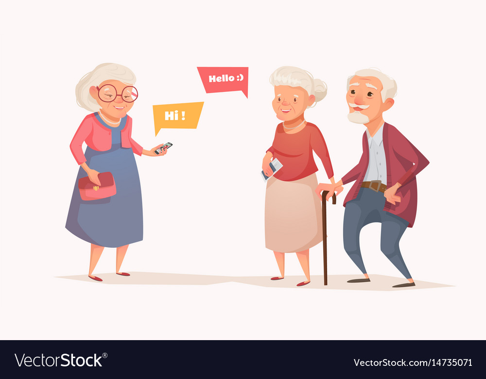 Elderly couple and an old woman in the style of a vector image