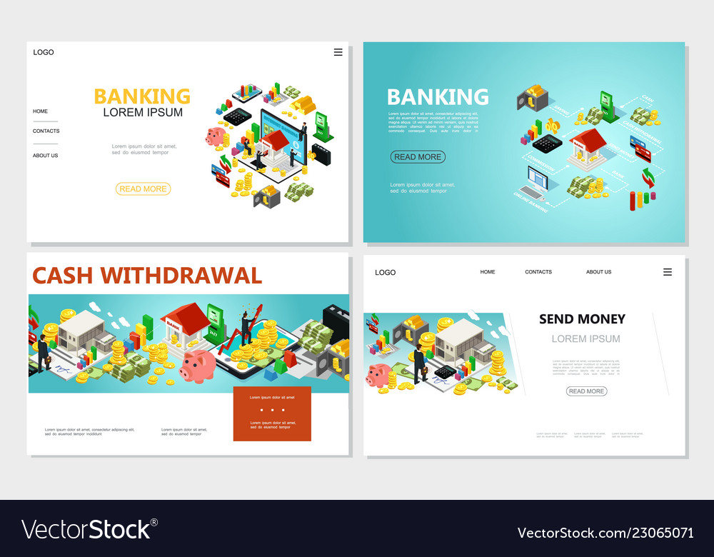 Isometric bank websites set