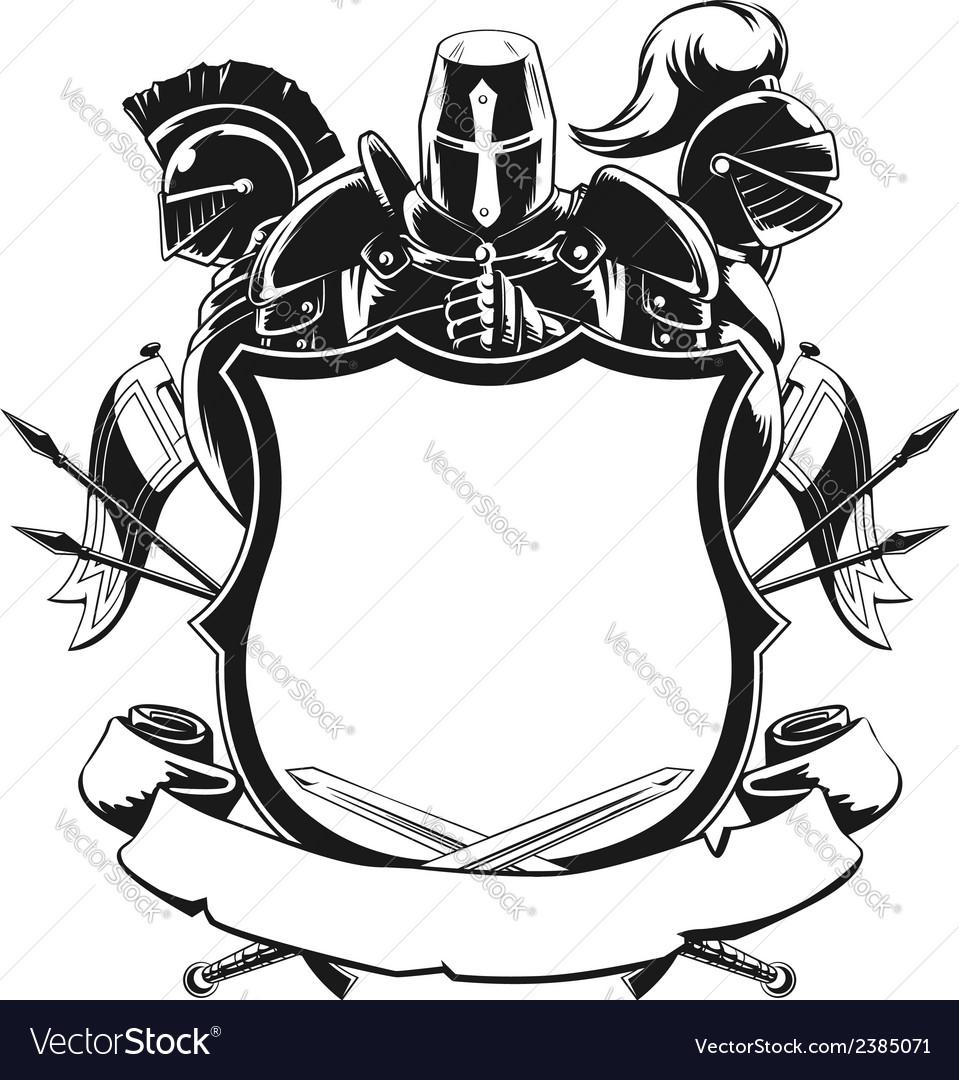 knight shield silhouette ornament royalty free vector image rh vectorstock com free ornament vector vintage free ornament vector art