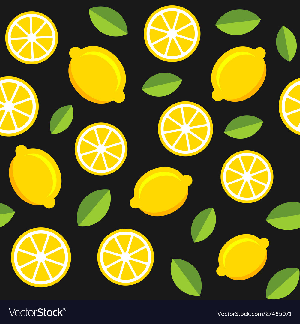 Lemon fruits seamless pattern on dark background