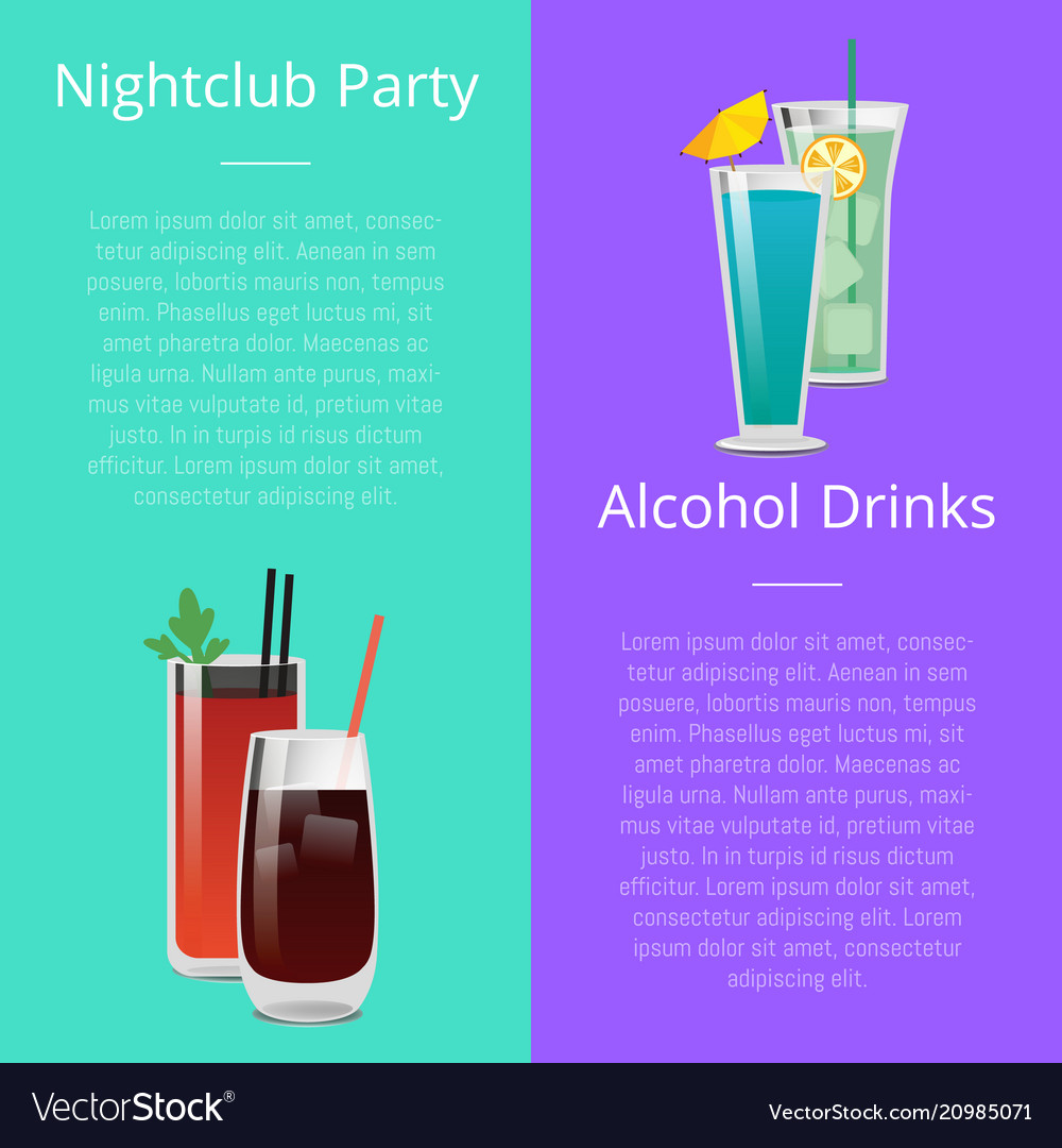 nightclub party alcohol drinks invitation poster vector image