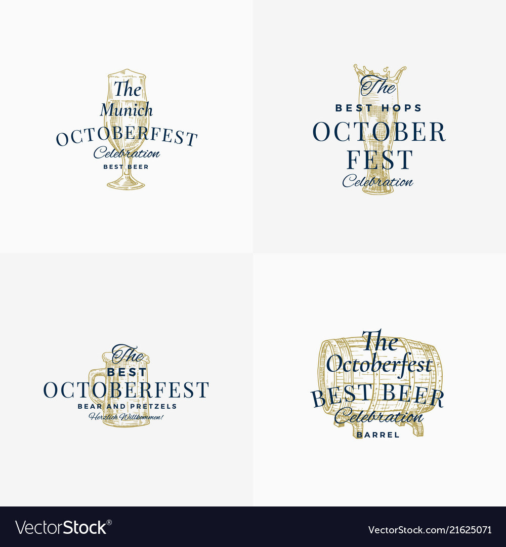 Octoberfest beer festival abstract signs
