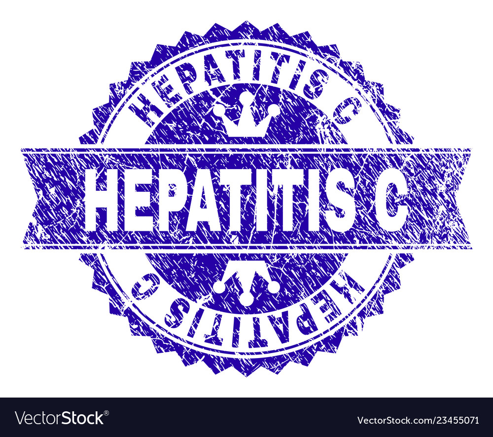 Scratched textured hepatitis c stamp seal with vector image