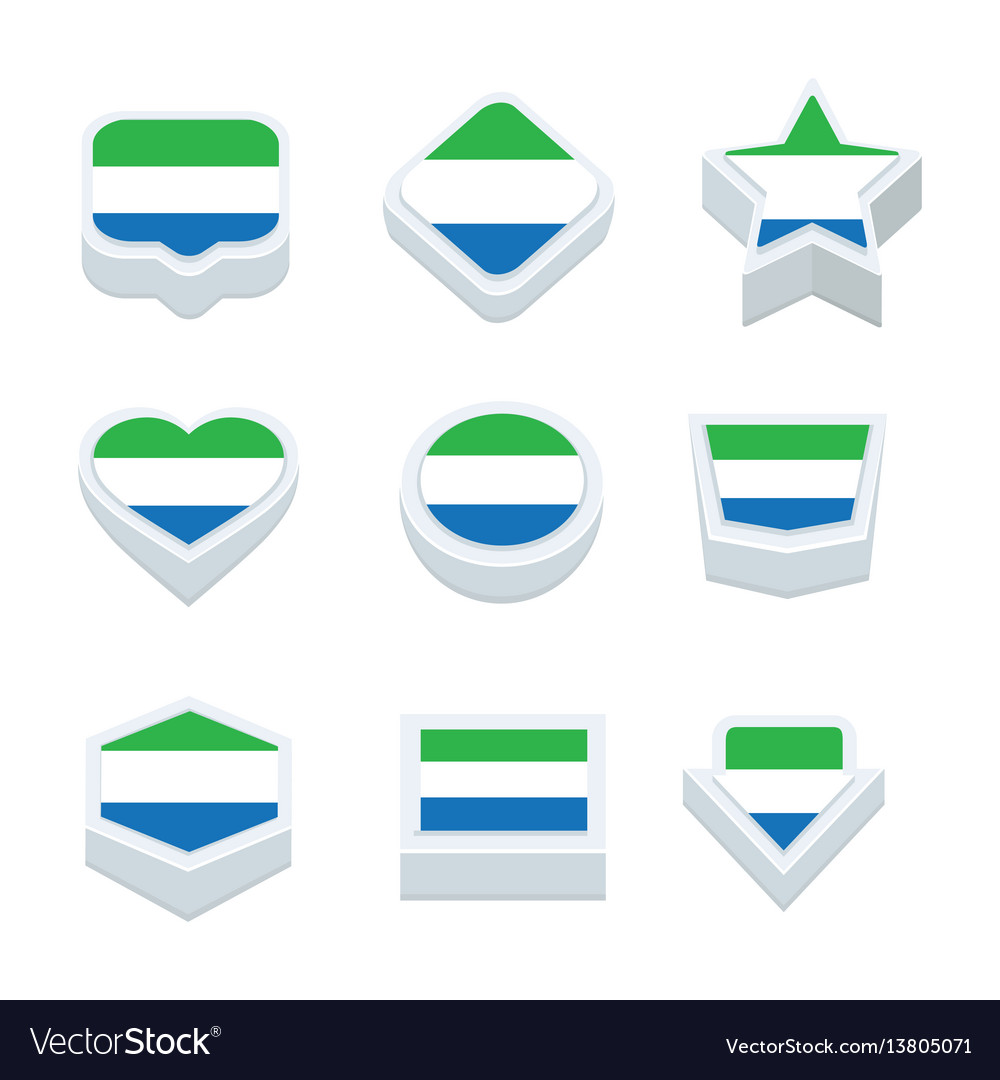 Sierra leone flags icons and button set nine