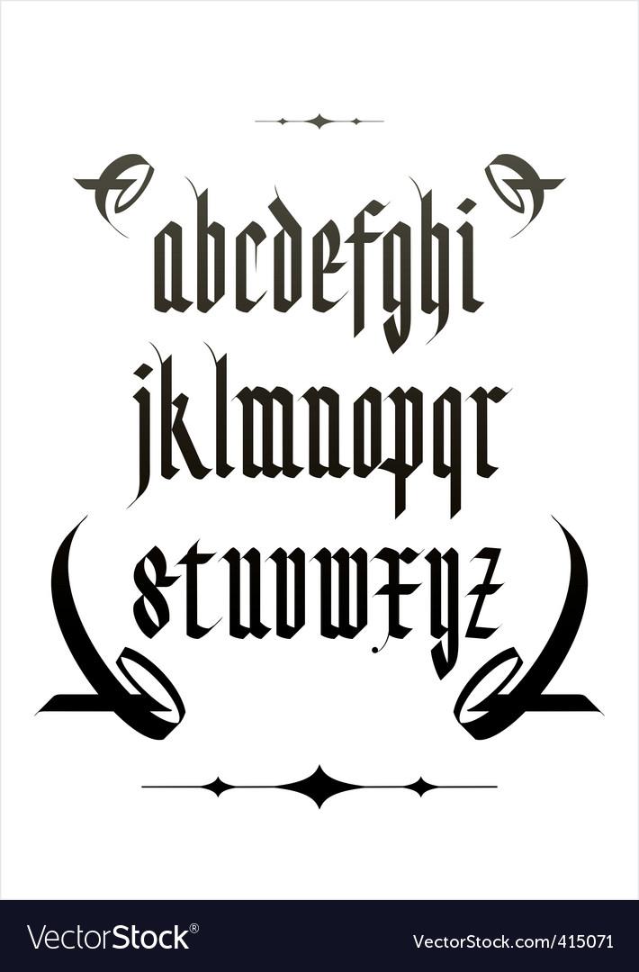 Vintage gothic font vector image