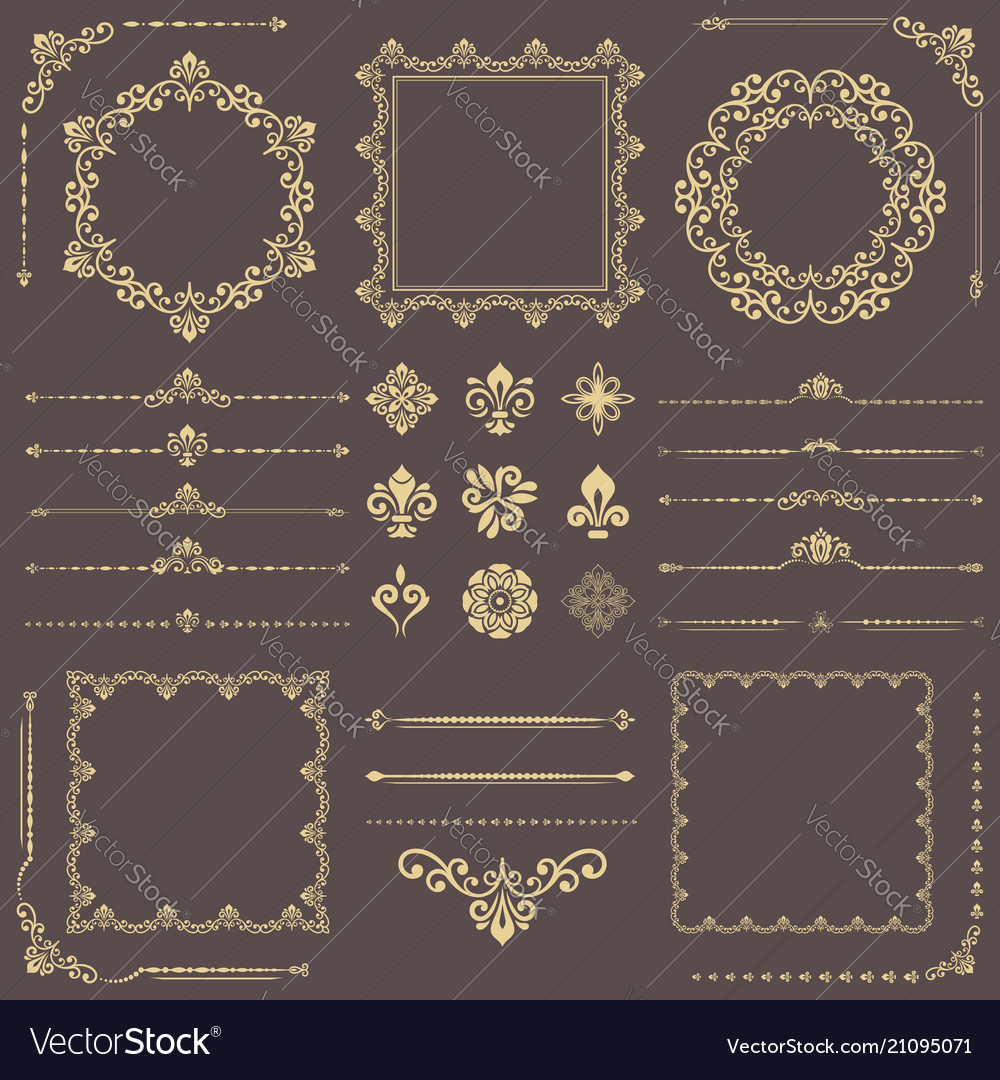 Vintage set of horizontal square and round