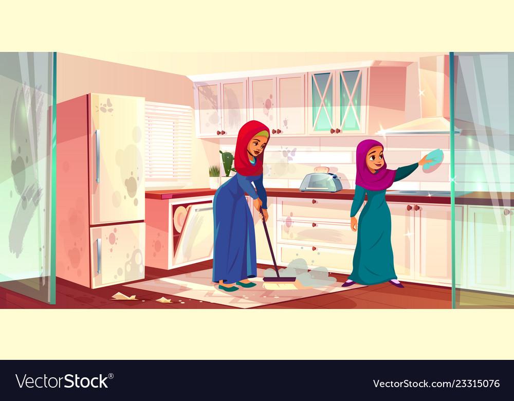 Arabian ladies wash kitchen servants