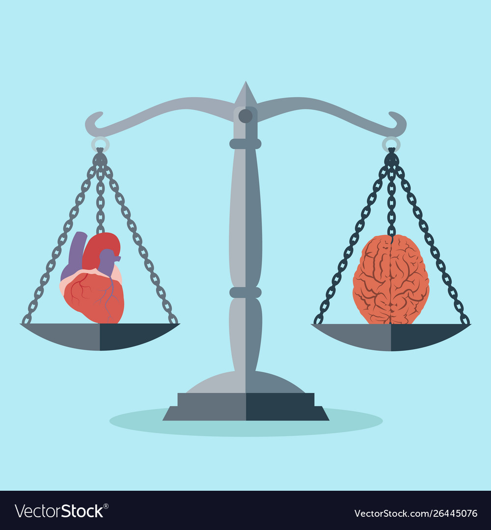 Balance between mind and heart concept