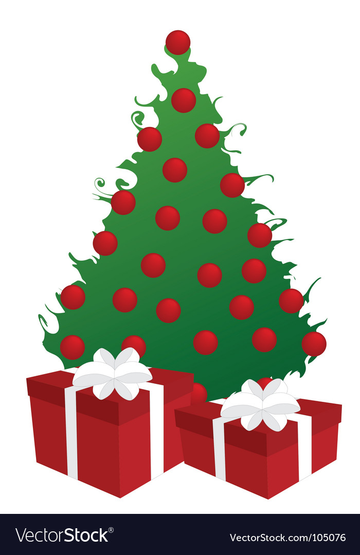 Christmas Tree With Gifts Ilration Vector Image