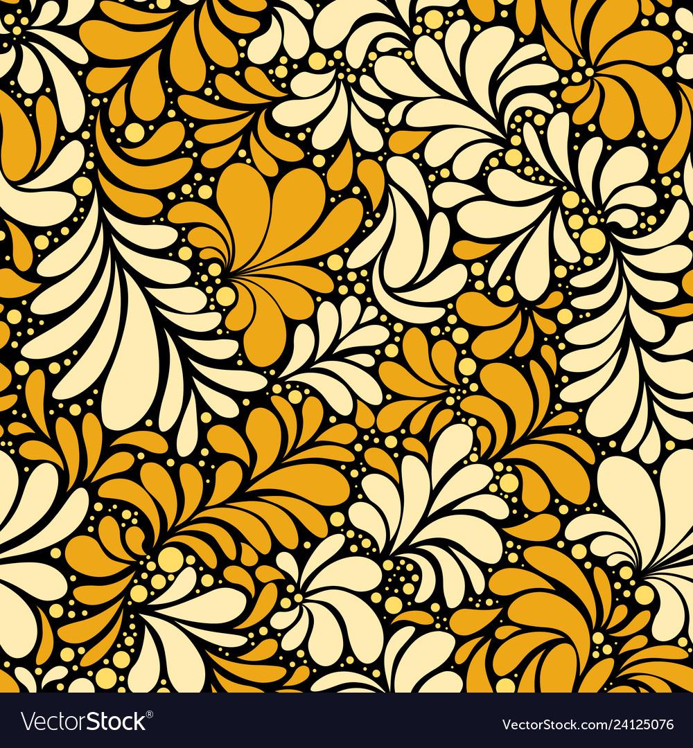 Damask teardrop gold ornament seamless pattern