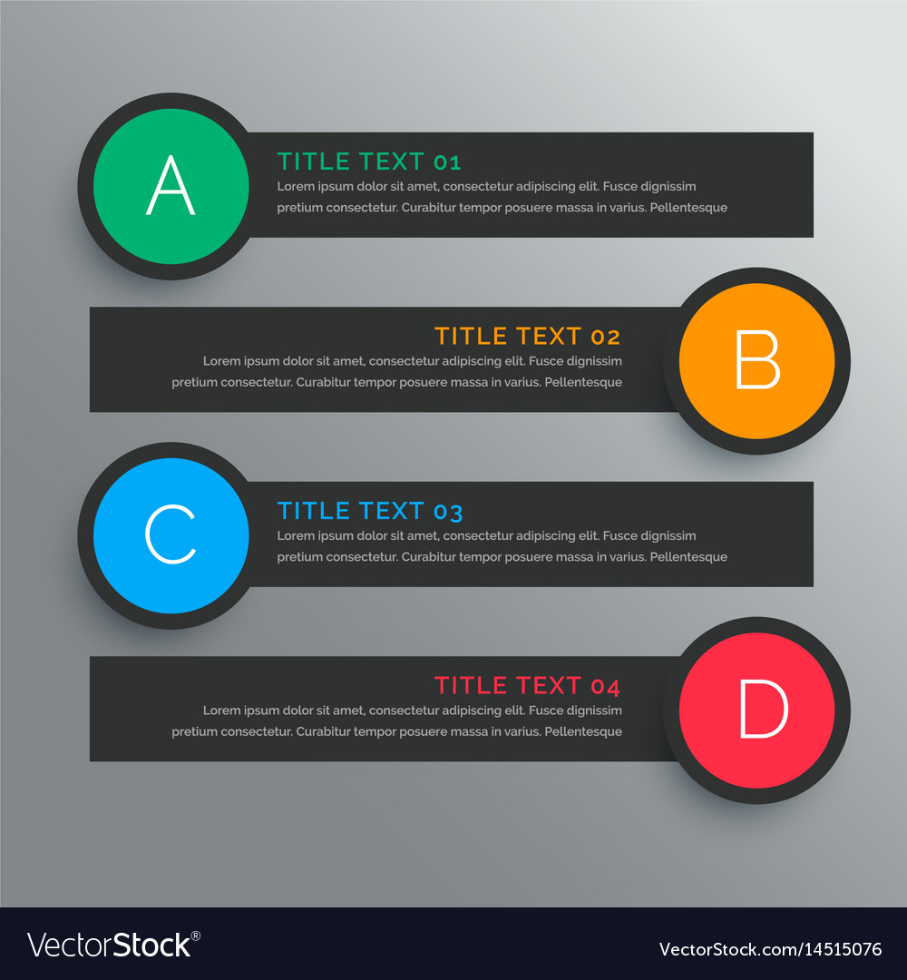 Dark circular options infograph with five steps