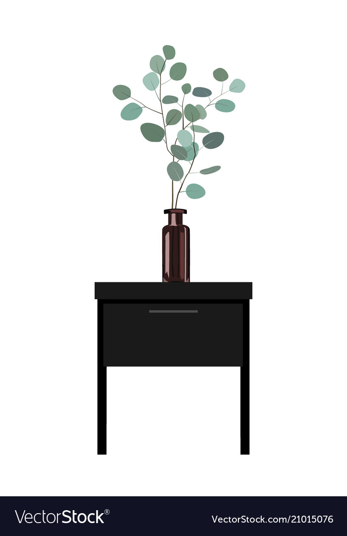 Eucalyptus Branches In A Dark Bottle Vase Vector Image