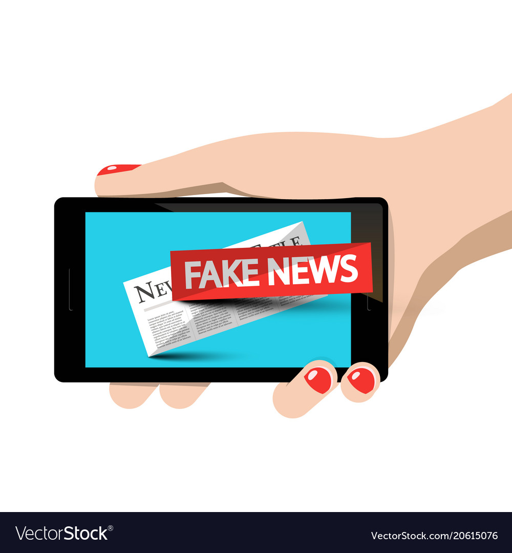 Fake news symbol on mobile phone in woman hand