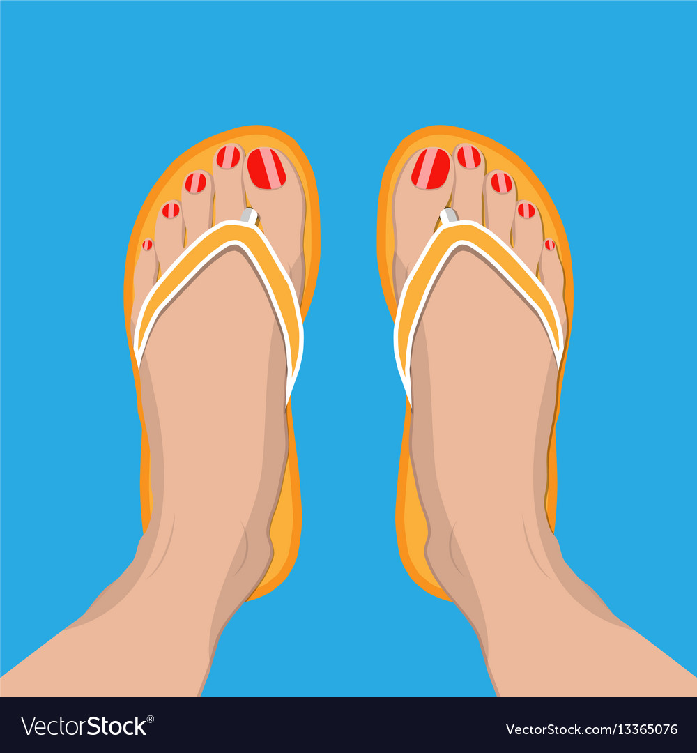 36345832a7c9 Female feet with red pedicure in summer flip-flops vector image