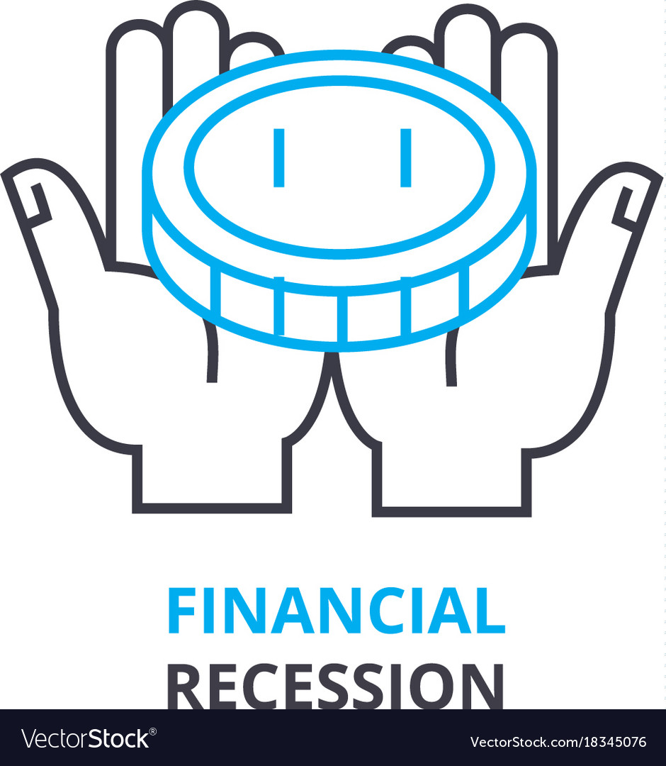 Financial recession concept outline icon linear