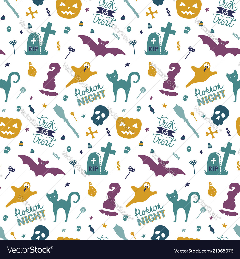 Funny hand drawn seamless pattern for halloween