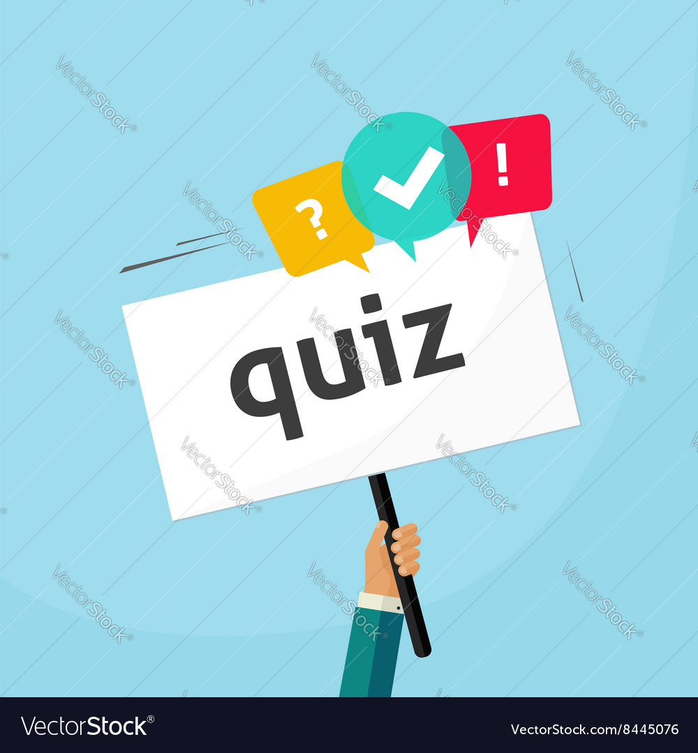 Hand holding placard with quiz text and speech vector image