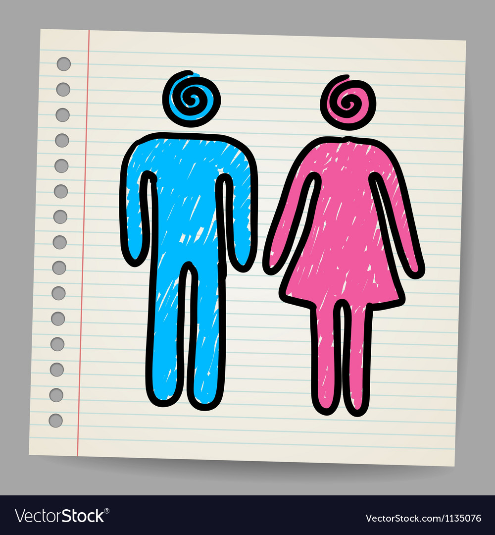Male Female Doodle Signs vector image