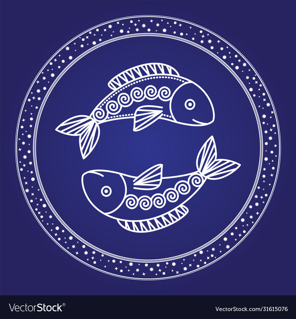 Pisces astrology zodiac sign isolated in circle
