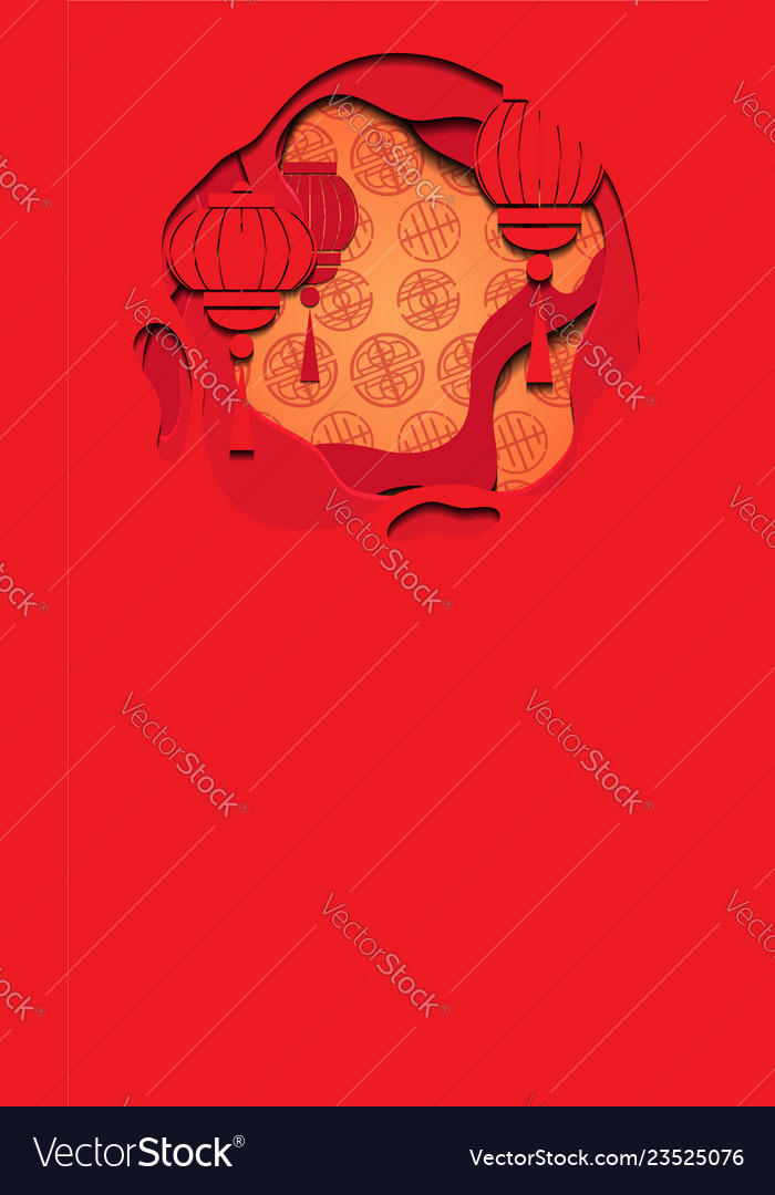 Vertical banner with chinese red greeting card