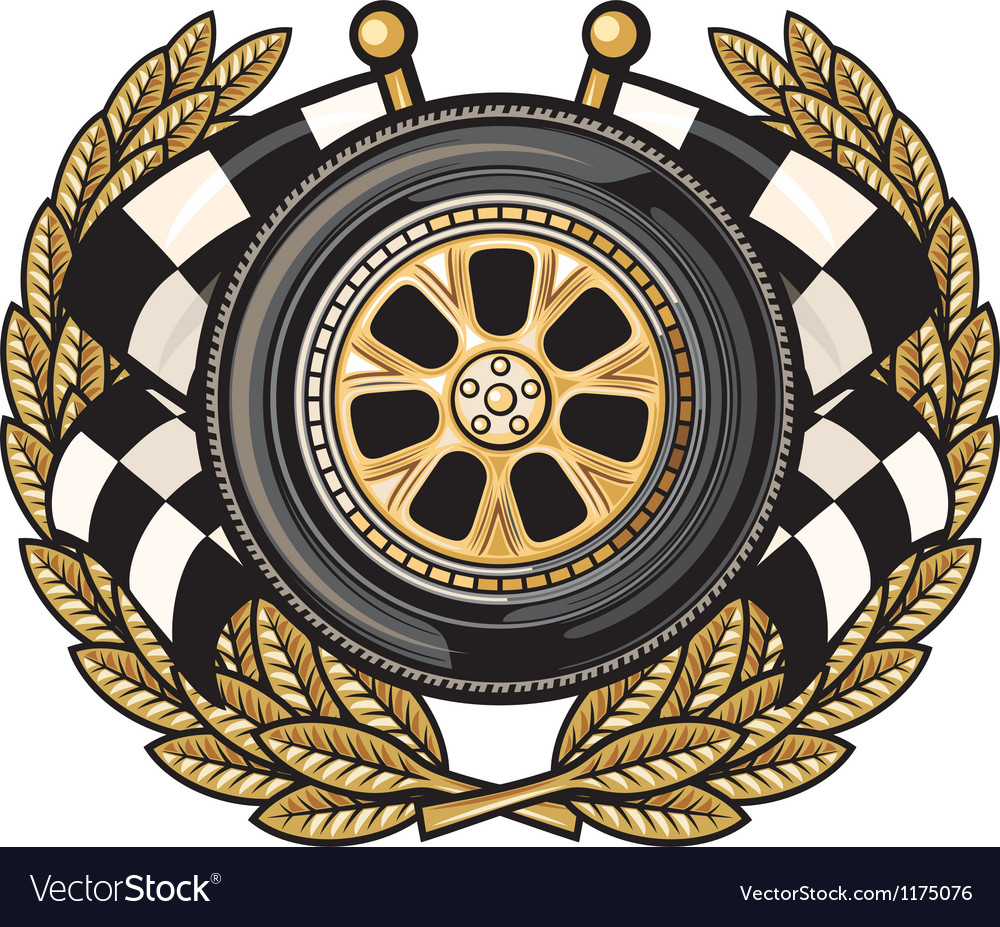 Wheel laurel wreath and two crossed flags vector image