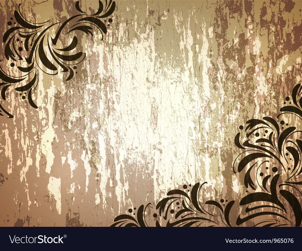 Wooden background with floral frame