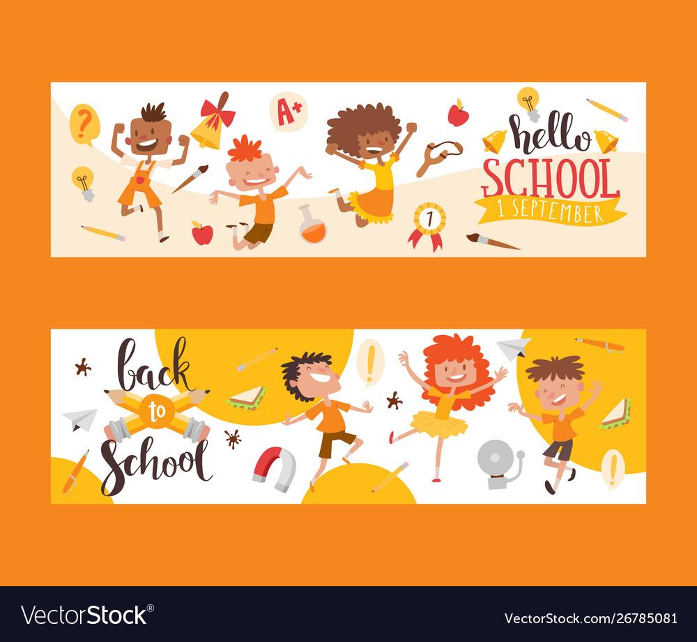 Back to school set banners kids children