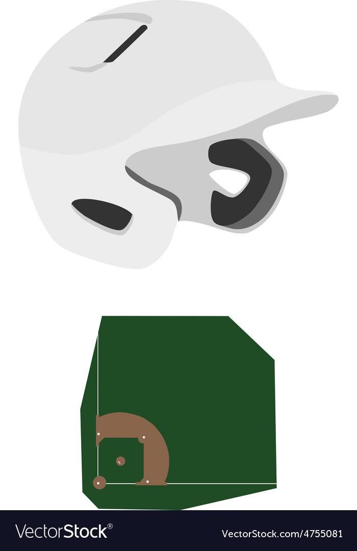 Baseball helmet and field