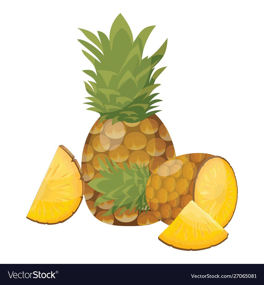 Cartoon pineapple fresh vitamin fruit juicy