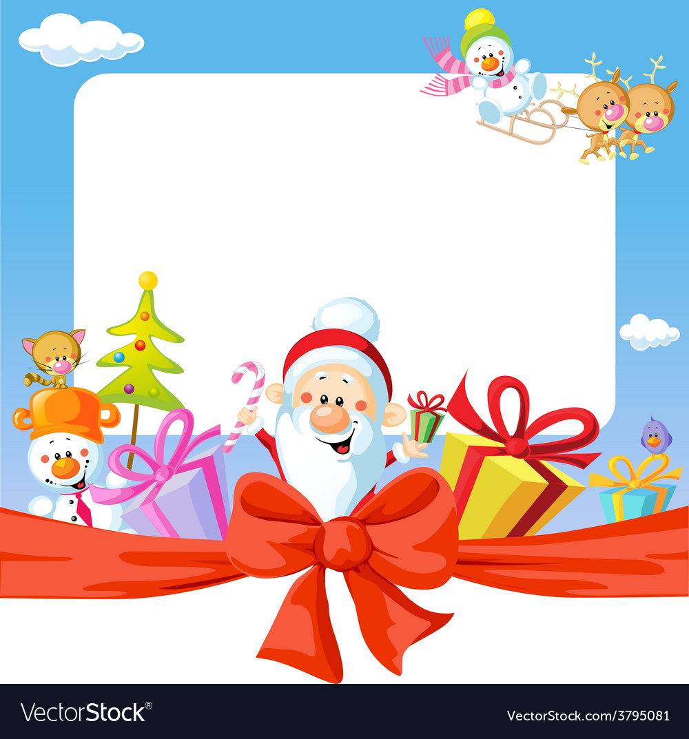 Christmas frame wit Santa Claus and gifts- funny