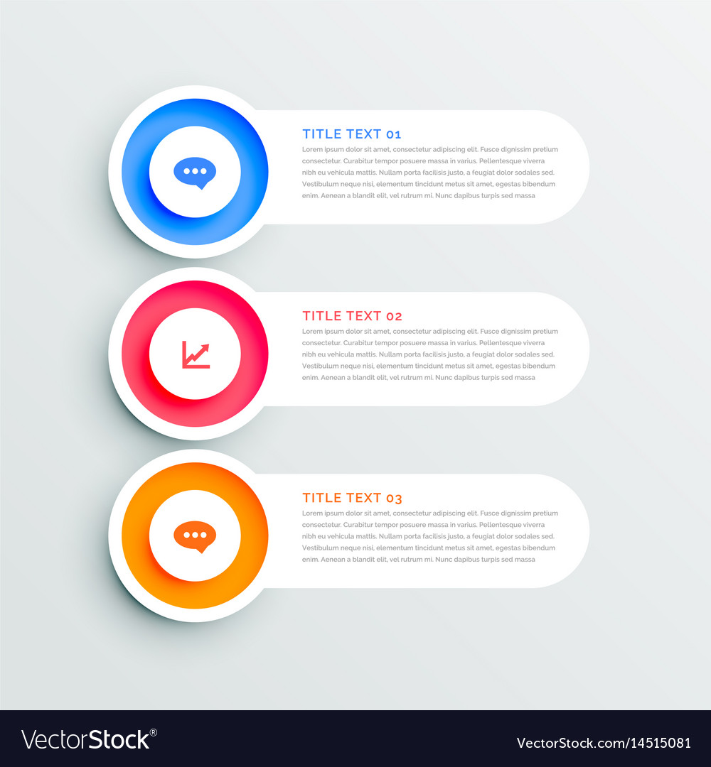 Clean circular three steps infographic design